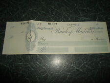 RARE Unused Bank of Madras Guntoor Cheque & Stub+One Anna Stamp Circa 1800's