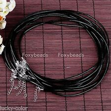 Black Cowhide Leather Choker Lobster Chain Clasp Cord Punk Necklace Fit Charms