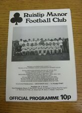 08/11/1980 Ruislip Manor v Crown & Manor [Middlesex Premier Cup] .  We are pleas