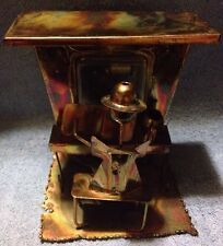 Vintage Brass  Metal Tin Man Playing Piano Sculpture Wind Up Music Box