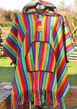 UNISEX RAINBOW PONCHO HIPPIE BOHO XL XXL 16 18 20 22 24 PLUS COAT JACKET TOP
