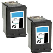 2 Pk Black Ink for HP 92 Photosmart PhotoSmart C3140 C3180 C3190 Deskjet 5420