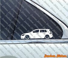 2x Lowered car outline stickers - for VW Golf MK7 GTI / GTD 5-Door
