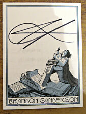 Hand Signed BRANDON SANDERSON adhesive bookplate WORLDWIDE FREEPOST