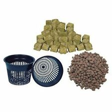 "(4) 5"" Net pots, Hydroton and Grodan 1.5"" Rockwool Cubes Hydroponic Grow Pot"