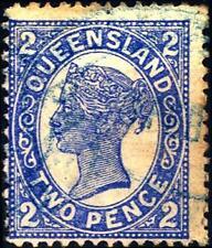 QUEENSLAND - 1907-1910 - Effige della Regina Vittoria. Cifre ai quattro angoli