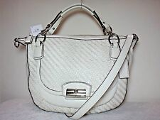 NWT Coach Kristin Woven Leather Round Satchel, White