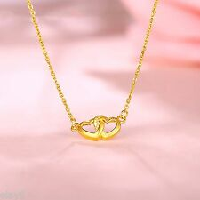 Pure Solid 999 24K Yellow Gold Chain Women O Link Two Heart Necklace 15.7inch
