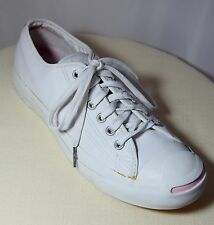 CONVERSE JACK PURCELL White Leather w Pink Trim Sneekers Tennis Shoes  Sz 7.5