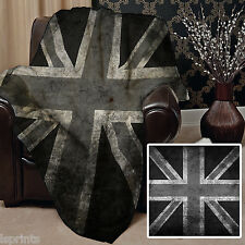 BLACK & WHITE GRUNGE UNION JACK DESIGN SOFT FLEECE BLANKET COVER THROW BLANKET