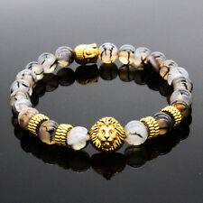 Men's Black Lava Stone Gold Lion Buddha Beaded Charm Bracelet Cheapest