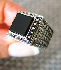 TURKISH MEN RING 925 STERLING SILVER BLACK ONYX AGATE STONE #825
