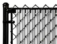 Chain Link Gray Single Wall Ridged™ Privacy Slat For 8ft High Fence Bottom Lock