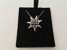 C21 Small Edelweiss on a 925 sterling silver Necklace Handmade 16 chain