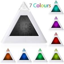 Fashion 7 LED Changing Color Pyramid Digital LCD Alarm Desk Clock Thermometer HY