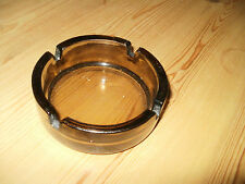 Vintage French Thick Round Smoked Brown Glass Ashtray (PM738)