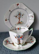 "Shelley ""Crabtree"" ~ Queen Anne Art Deco TRIO ~ Tea Cup, Saucer, and Side Plate"