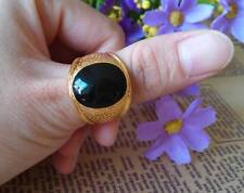 Fashion Men's 18K Yellow Gold Plated Black Ring  Size #9