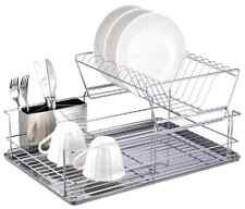 2-Tier Steel 3 pc. Dish Rack Draining Plate Cups w/ Removable Utensil Cup, New