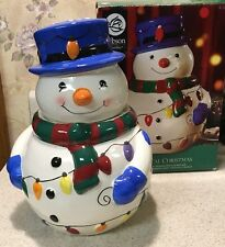 "Snowman Cookie/Treat Jar by Gibson Whimsical Christmas 10"" New In Box"