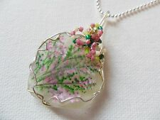 "Scottish heather wildflower necklace painted english sea glass 18"" silver chain"