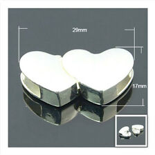 1 x Premium Flat Leather Glue In Heart Magnetic Clasp (SP) - 29mm - lady-muck1