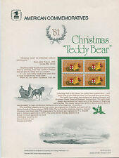 #1940 20c Christmas Teddy Bear Stamp USPS #153 Commemorative Stamp Panel
