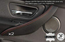 RED STITCH 2X FRONT DOOR HANDLE TRIM LEATHER COVERS FITS BMW F30 F31 12-16