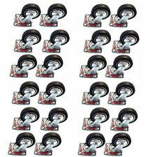 """24 Pack 3"""" Swivel Caster Wheels Rubber Base with Top Plate & Bearing Heavy Duty"""