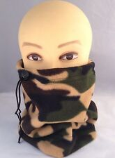 Camo fleece neck warmer scarf snood unisex mens ladies neck gaiter.