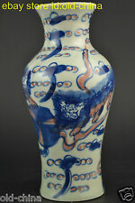 China Culture Collectible Decor Old Porcelain Painting Lion Lucky Vase Noble