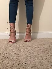 Size 7 Public Desire Nude Lace Up Tie Around Sandals Heels Shoes Chunky Perspex
