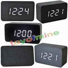 Morden White LED Wooden Digital Black Alarm Clock Calendar Thermometer #T1K