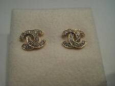 "18ct yellow gold double ""C"" diamond studded stud earrings BRAND NEW ARRIVAL"