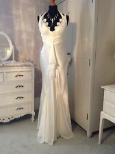 Mary L Couture Satin and Chiffon Wedding Dress, Size 8/Small 10, USED