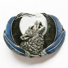 NEW COWBOY MOON WOLF ANIMAL DOG FEATHER 3-D BELT BUCKLE