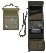 Military Style PASSPORT ID Ipod Wallet Pouch Neck Strap Holder Travel - OD Green