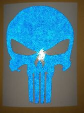 Punisher Skull Reflective Blue Decal Vinyl Sticker Helmet Tank Motorcycle 5""