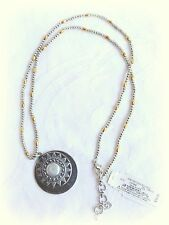 $39 NWT LUCKY BRAND TWO TONE PEARL MOP LONG TRIBAL BOHO PENDANT NECKLACE SILVER