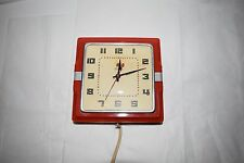 "VINTAGE 1940""S TELECHRON RED KITCHEN ELECTRIC WALL CLOCK MODEL 2H11  (WORKS"