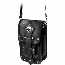 Official Alchemy Gothic Leather and Canvas Empire Aviator Pouch Bag - Black Goth