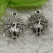 free ship 220 pieces tibet silver peacock charms 21x15mm #4052