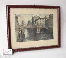 Berlín vírgenes puente Antik litografía piedra presión sign. Albrecht Bruck alrededor de 1900