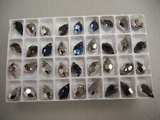 36 new preciosa crystal drop pendants(top drilled)15x9mm heliotrope