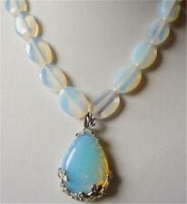 13x18mm White Egg Moonstone Beads & Teardrop-shaped Pendant Necklace 17.5""