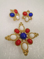 Vintage Sarah Coventry Americana Red White Blue Brooch Earrings Set Clip on