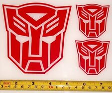 Transformers - Autobot Set of 3 HQ Single Color Red Vinyl Sticker Decal em