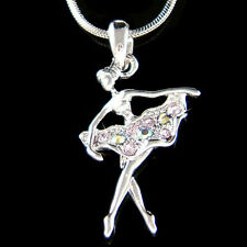 w Swarovski Crystal Purple BALLERINA The Nutcracker Ballet Dancer Charm Necklace