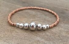Dainty Rose Gold Silver Ball Seed Beaded Surfer Bracelet Stretchy Stacking