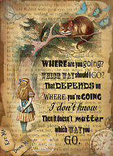 ALICE IN WONDERLAND THE CHESHIRE CAT: VINTAGE RETRO  STYLE QUOTE METAL SIGN